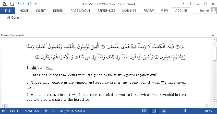 Latest al-quran plugin v 2. 2 for using on your microsoft word by.