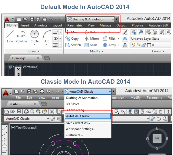 Classic Mode In AutoCAD 2014