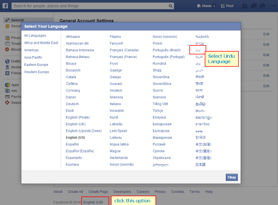 Change  Facebook Language into Urdu _2