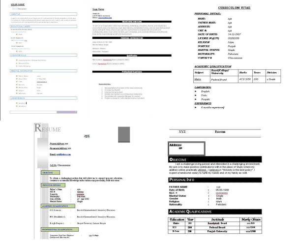 CV Formates CV Formates (2). Download Free 10 Best Curriculum Vitae (CV)  Documents In Microsoft Word Format: ...