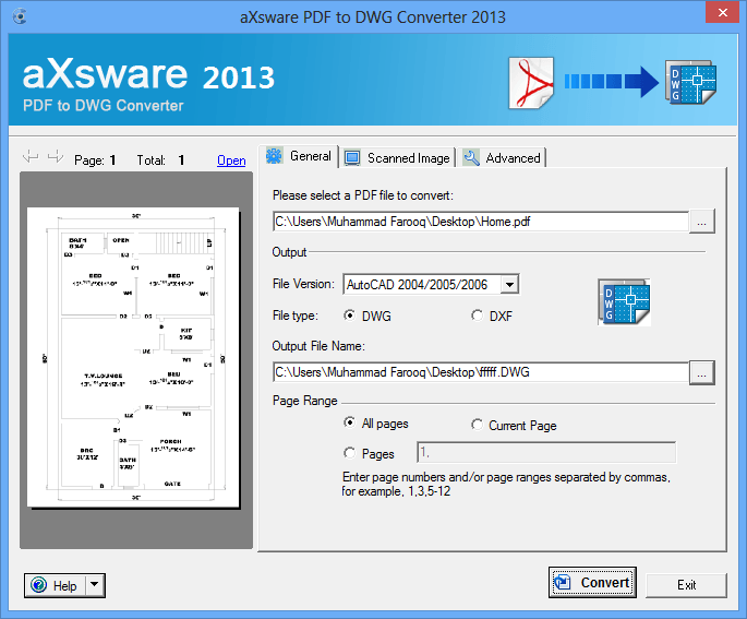 2- aXsware Pdf to Dwg convertor