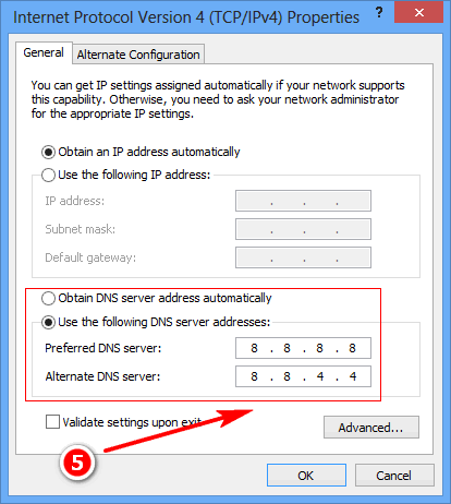 DNS server addresses (5)