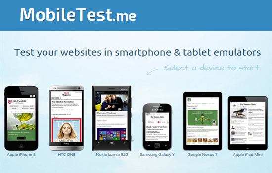 Test Your Mobile Sites and Responsive Web Designs on Various Smartphones and Tablet