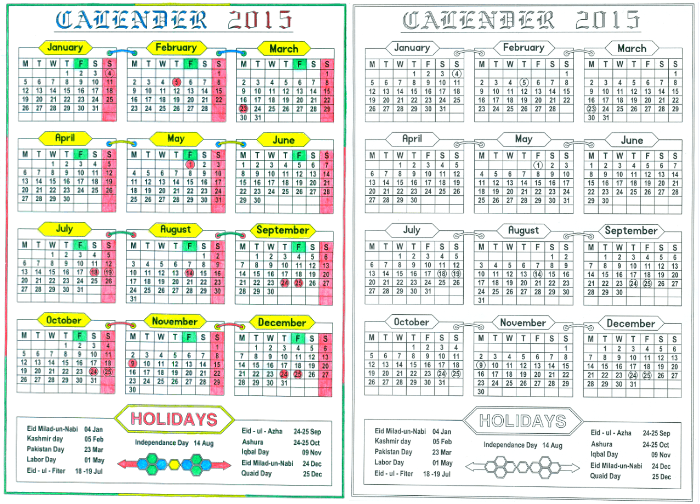 Download Full Year Printable Calendar 2015 Included Pakistani