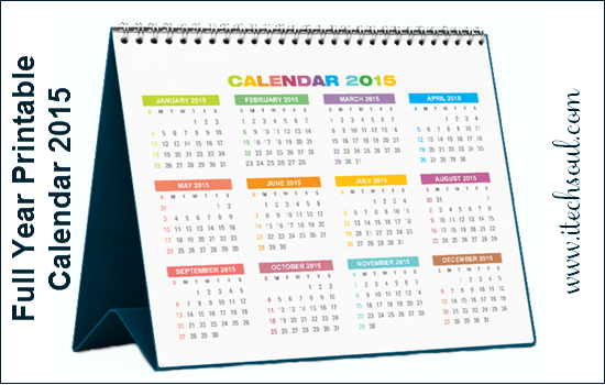 Full Year Printable Calendar 2015
