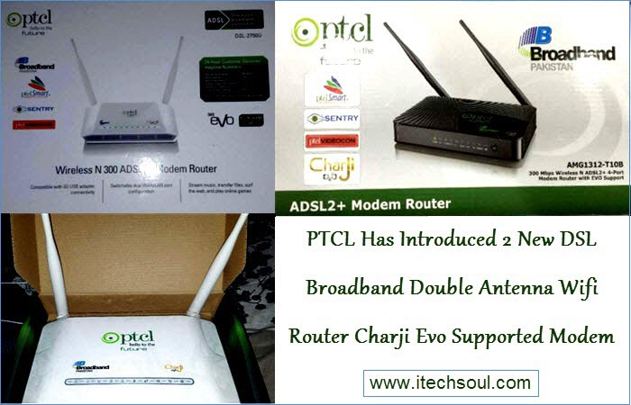 PTCL Double Antenna Wifi Router Charji Evo Supported Modem