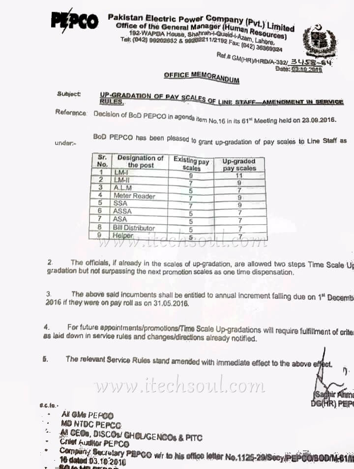 Upgradation of pay scales of line staff (PEPCO )