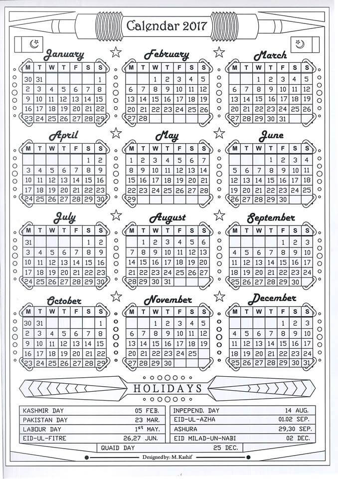 Calendar 2017_black and white