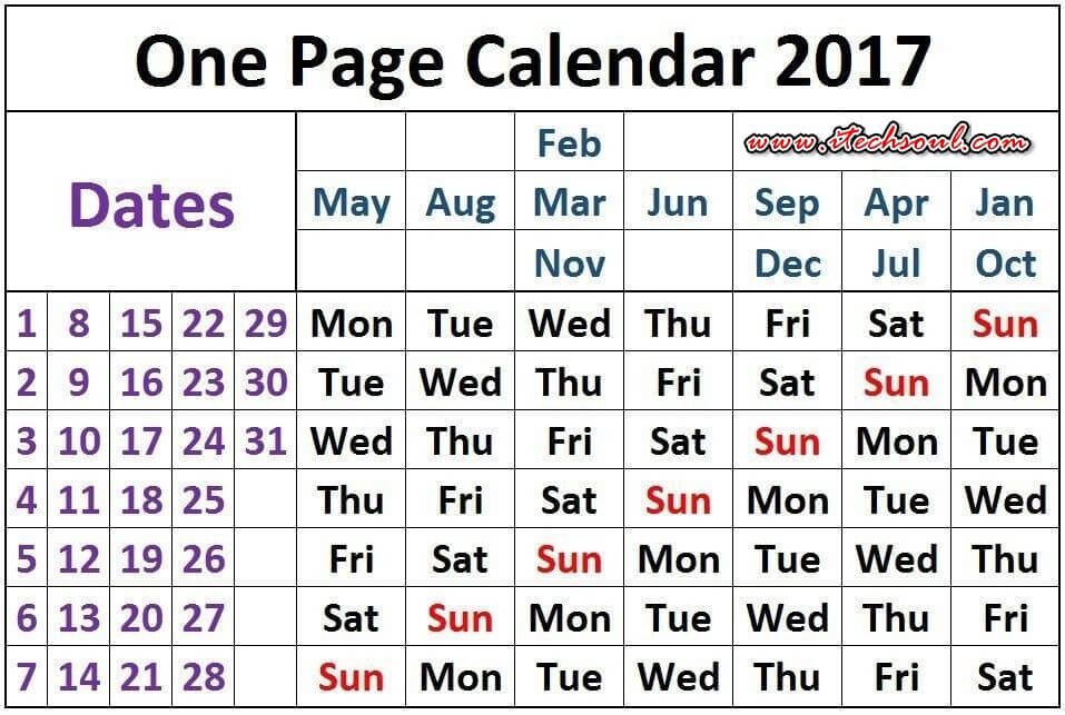 Download One Page Magical Calendar 2017 Template - Itechsoul