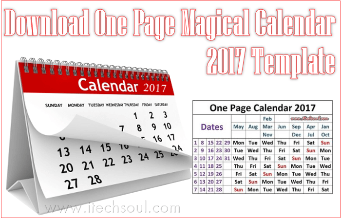 One Page Magical Calendar 2017