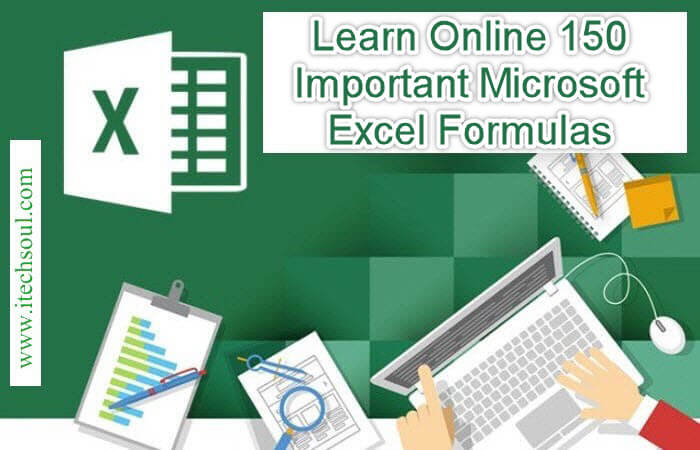 learn online 150 important microsoft excel formulas itechsoul