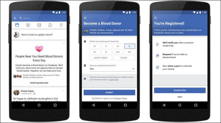 Facebook blood donation feature in Pakistan