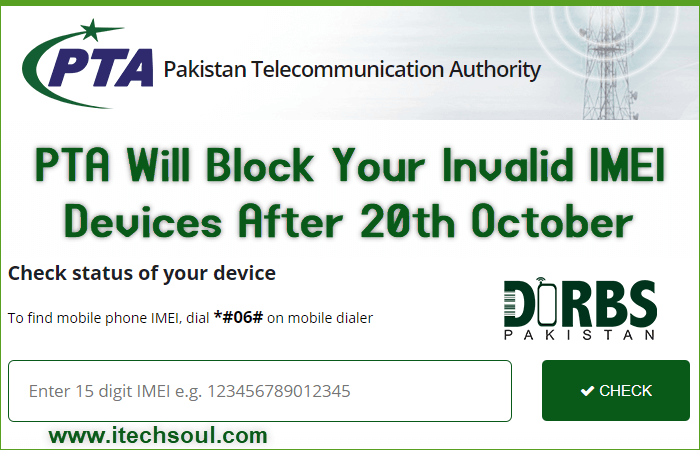 PTA Will Block Your Invalid IMEI Devices After 20th October 2018