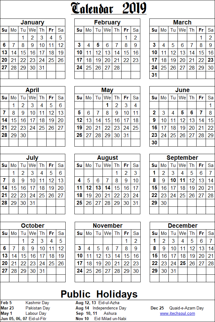 Colorized / Black & White Printable Calendar 2019 Including