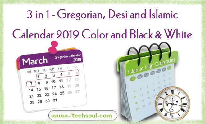 Gregorian, Desi and Islamic Calendar 2019