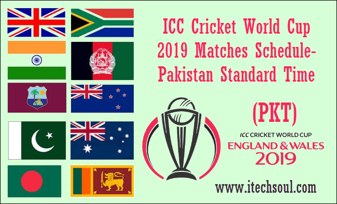ICC Cricket World Cup 2019 Matches Schedule