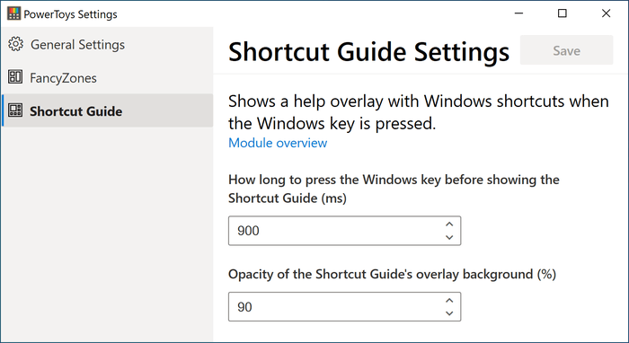 shortcuts Guide settings
